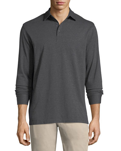 Cotton-Blend Long-Sleeve Polo Shirt