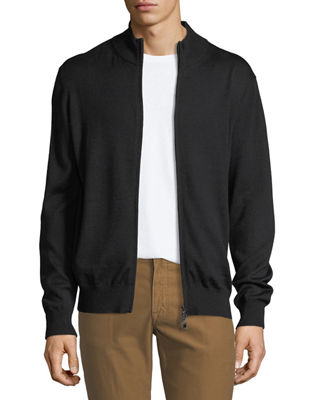 Image 1 of 3: Merino Wool-Silk Zip-Front Cardigan