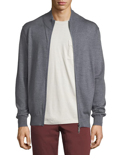 Merino Wool-Silk Zip-Front Cardigan