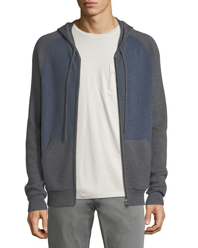 Cashmere-Cotton Colorblock Zip-Front Baseball Hoodie