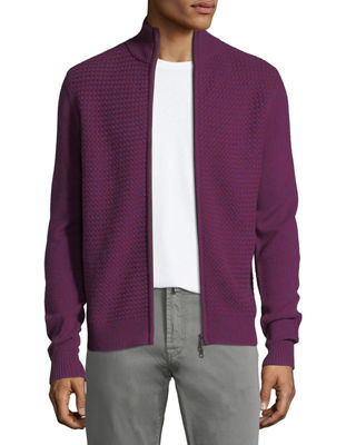 Image 1 of 3: Basketweave Cashmere Zip-Front Cardigan