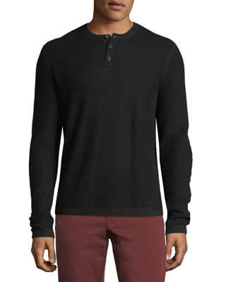Image 1 of 2: Cashmere-Cotton Henley Sweater