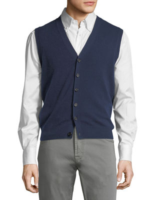 Image 1 of 3: Cashmere V-Neck Cardigan Vest