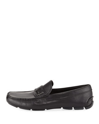 Image 3 of 3: Crocodile-Trim Leather Moccasin