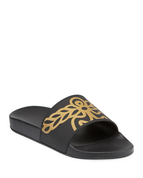 Mcm MEN'S RUBBER LOGO SLIDE SANDALS