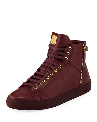 Men's Monogrammed Leather High-Top Sneakers