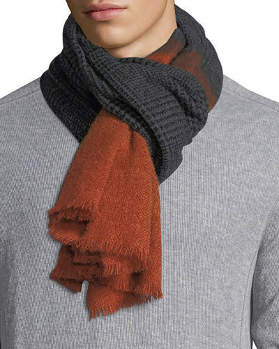Brunello Cucinelli Cashmere/Alpaca Houndstooth Scarf with Solid