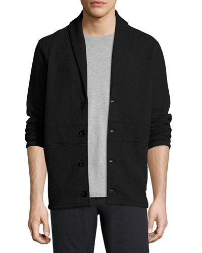 Billy Reid Shawl-Collar Basketweave Cotton Cardigan Jacket