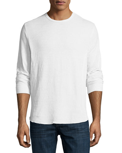 Double-Knit Long-Sleeve Crewneck T-Shirt