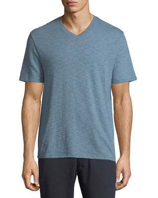 Image 1 of 3: Slub Pima Cotton V-Neck T-Shirt