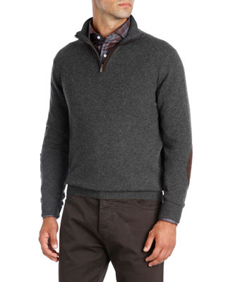 Isaia Half-Zip Cashmere Sweater with Suede Trim