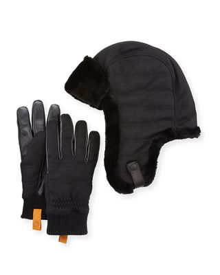 UGG Men's Shearling-Trim Hat & Gloves Gift Set