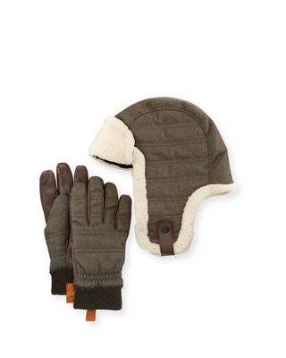UGG Australia Men's Shearling-Trim Hat & Gloves Gift