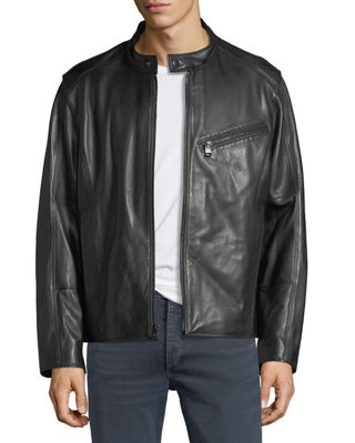 Andrew Marc Gibson Lambskin Leather Moto Jacket