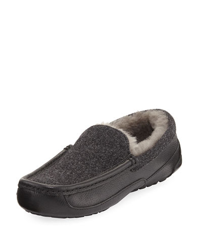 UGG Men's Ascot Leather & Wool Slipper