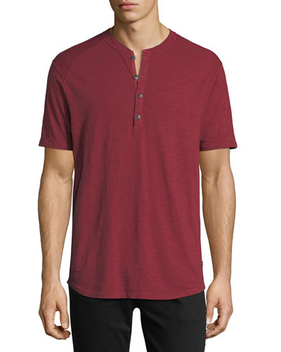 Slub Cotton Short-Sleeve Henley T-Shirt