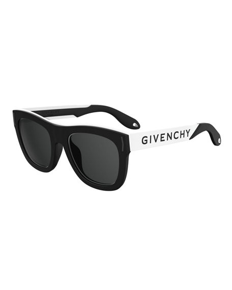 Givenchy Stainless Steel & Rubber Square Logo Sunglasses