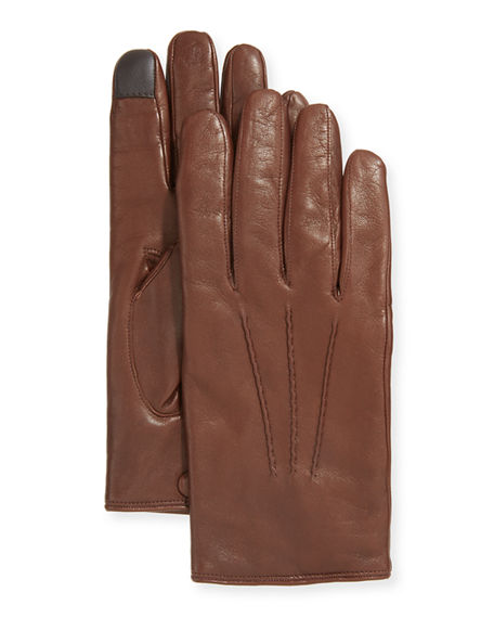 Guanti Giglio Fiorentino 3-Point Napa Leather Gloves w/ Cashmere Lining