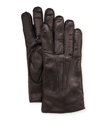 Three-Cord Napa Leather Gloves, Black