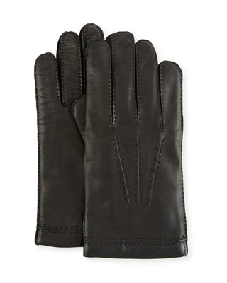 Three-Cord Napa Leather Gloves, Brown