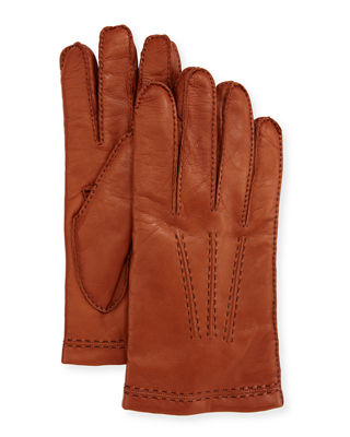 Three-Cord Napa Leather Gloves, Tan
