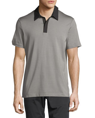 Incisive Contrast-Collar Silk-Cotton Polo Shirt