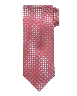Round Square Medallion Silk Tie