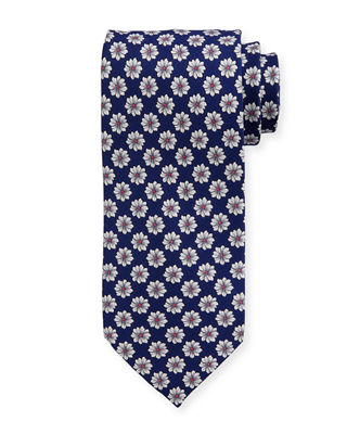 Large Flower Printed Silk Tie