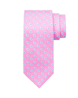 Medium Flower Printed Silk Tie