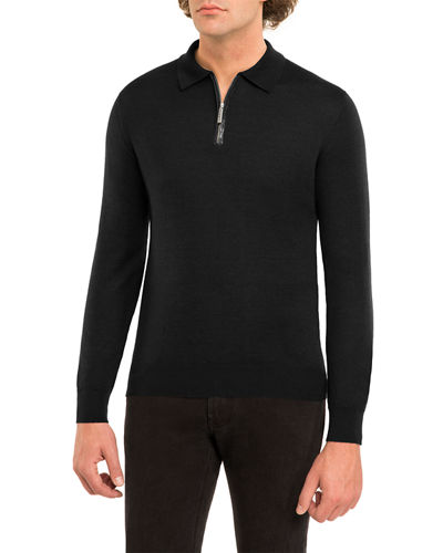 Crocodile-Trim Cashmere-Silk Half-Zip Sweater