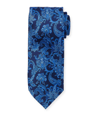 Large Paisley Printed Silk Tie