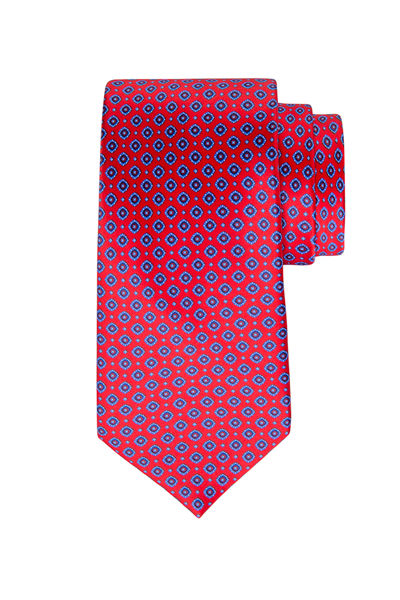 Small Square-Print Silk Tie