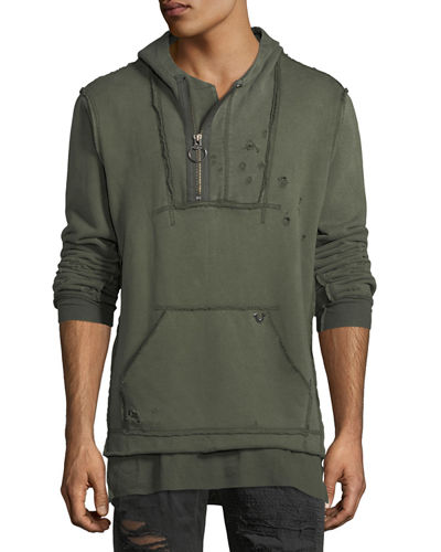 True Religion Raw-Edge Quarter-Zip Hoodie