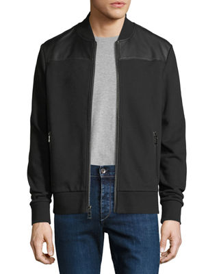 Michael Kors French Terry Bomber Jacket with Leather