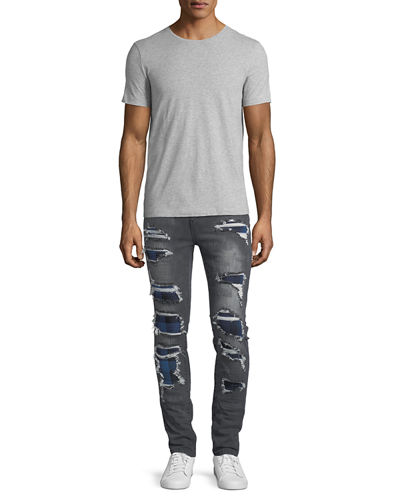 Distressed Slim-Straight Jeans with Backing