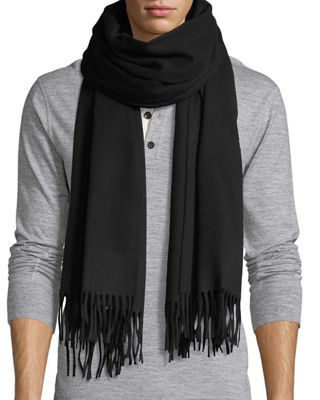 Solid Wool Fringed-End Scarf
