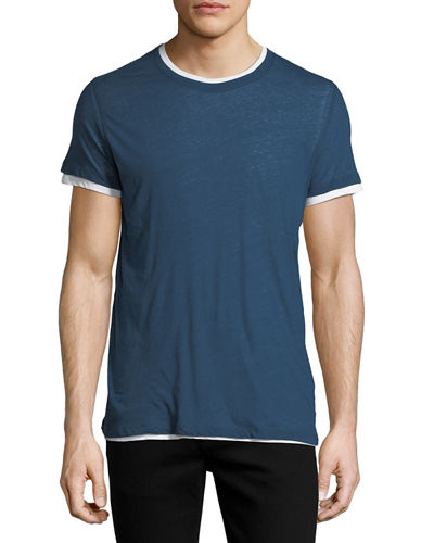 Majestic Double-Layer Cotton/Cashmere Crewneck T-Shirt
