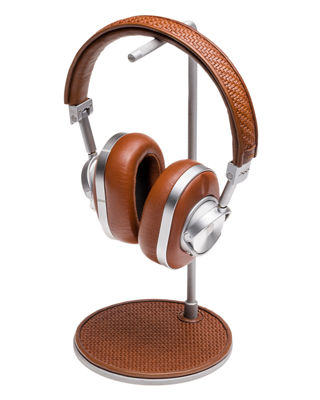 Image 1 of 4: MW 60 Pelle Tessuta Aluminum Wireless Headphones and Stand