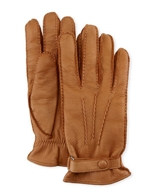 Image 1 of 2: Winston Snap Leather Cashmere-Lined Gloves