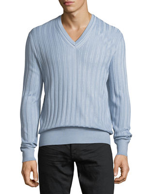 Cashmere-Silk Rib-Knit V-Neck Sweater
