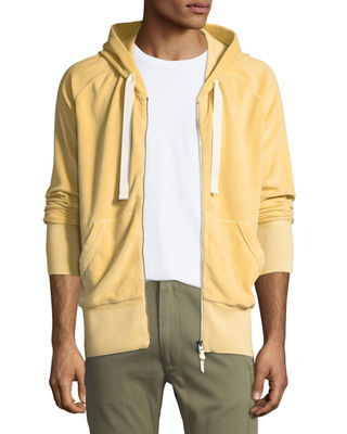 Image 1 of 6: Terry Cloth Zip-Front Hoodie