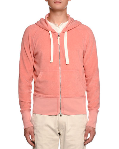 Terry Cloth Zip-Front Hoodie