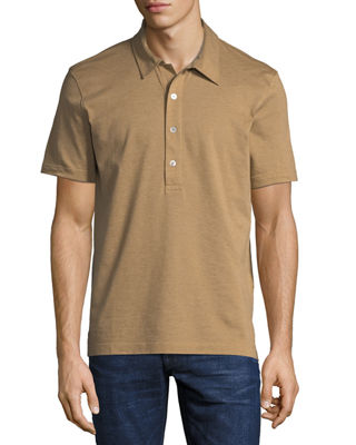 Image 1 of 2: Heathered Jersey Short-Sleeve Polo Shirt