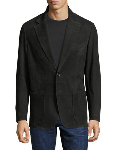 Worn-Edge Nubuck Leather Blazer