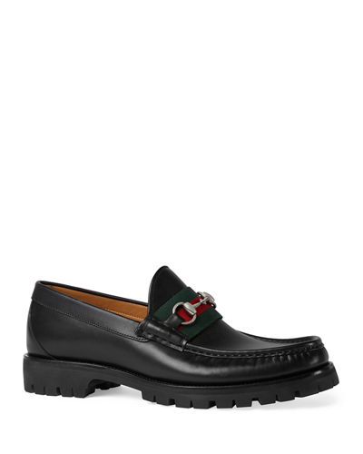 Gucci Alfons Web Leather Loafer