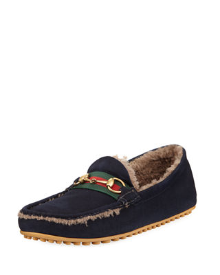 Shearling-lined driving suede loafers Gucci