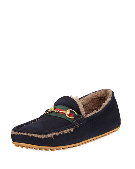 Shearling-lined driving suede loafers Gucci jyWohq7r