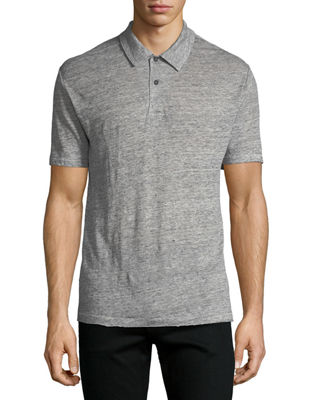 Men's Owen Heathered-Knit Linen Polo Shirt