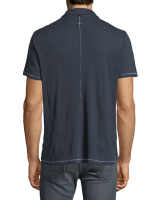 Image 2 of 2: Owen Heathered-Knit Linen Polo Shirt