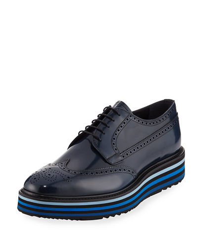 Prada Spazzolato Leather Brogue Sneaker